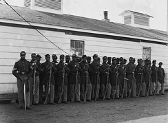 Soldiers of the Fourth United States Colored Infantry at Fort Lincoln, in 1865
