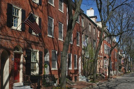 Delancey Street row homes in Society Hill exhibiting Federal architecture