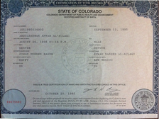 A Colorado birth certificate, which can be used to prove U.S. citizenship.