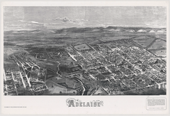 In July 1876, the Illustrated Sydney News published a special supplement that included an early aerial view of the City of Adelaide, the River Torrens and portion of North Adelaide from a point above Pennington Terrace, North Adelaide.