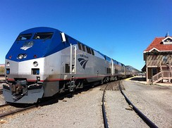 In the 21st century Amtrak replaced its F40PH units with the GE Genesis. Pictured are Amtrak engines #1 and #56, both GE Genesis P42DC diesels, pulling the eastbound California Zephyr at Grand Junction, Colorado, April 2012