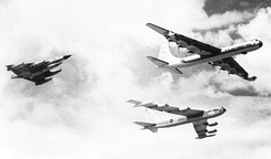 Last B-36 flight from Carswell, 30 May 1958, flying in formation with a Convair YB-58 and Boeing B-52.