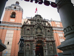 The Mercedarians not only evangelized Central Peru but also managed the architectural development of colonial Lima by building many of the notable churches that today are preserved.[11] In the image the Basilica of Nuestra Señora de la Merced, Lima