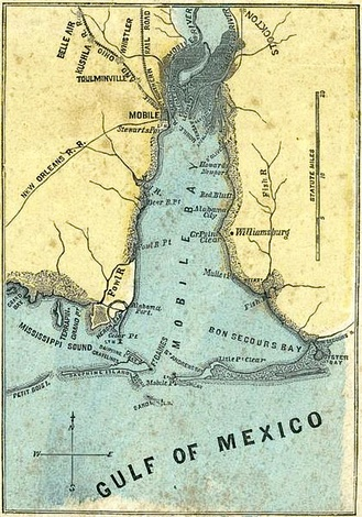Map of Mobile Bay, 1861: shows Fort Gaines (lower center) on Dauphin Island, west of Fort Morgan, across the bay entrance.