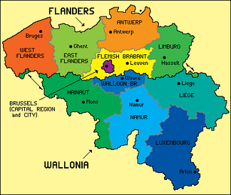 Map of Belgian regions and provinces.