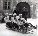 The Swiss bobsleigh team from Davos, ca. 1910