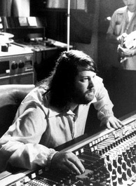 Brian Wilson behind Brother Studios' mixing console in 1976
