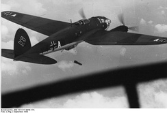 He 111P dropping bombs over Poland, September 1939