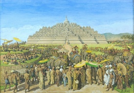A painting by G.B. Hooijer (c. 1916–1919) reconstructing a scene of Borobudur, the largest Buddhist temple in the world.