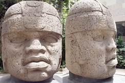 An Olmec stone head