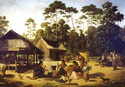 Choctaw Village near the Chefuncte, by Francois Bernard, 1869, Peabody Museum—Harvard University. The women are preparing dye in order to color cane strips for making baskets.