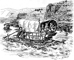 A wagon converted to a raft for the last stage of the emigration.