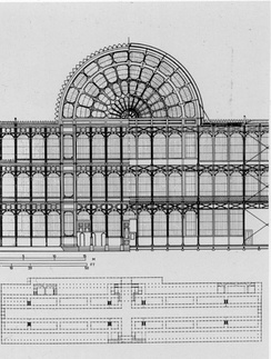 Partial front (left) and rear (right) elevations of the Crystal Palace