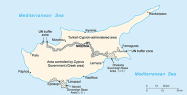 A map showing the division of Cyprus