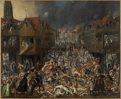 The Dutch Revolt spread to the south in the mid-1570s after Spanish troops mutinied for lack of pay and went on the rampage in Antwerp, destroying 1,000 houses and slaughtering 17,000 people.[25] Military terror defeated the Flemish movement, and restored Spanish rule in Belgium.[26]