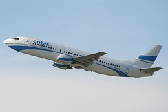 Boeing 737 Enter Air, climbing with typical angle of attack for civil airplanes, to give optimal rate of climb