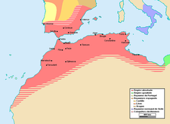 The empire of the Almohad dynasty at its greatest extent, circa 1212.