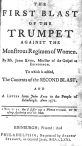 The title page of The First Blast from a 1766 edition with modernised spelling