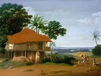 Landscape with a worker's house, Frans Post