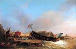 Launch of the French ship Friedland on 2 May 1810, sliding stern first