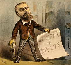 "1881 political cartoon of Guiteau; the caption for the cartoon read ""Model Office Seeker"""