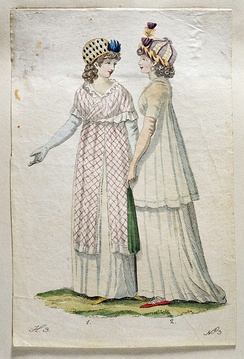 Fashion drawing from 1800 with ladies wearing toques.
