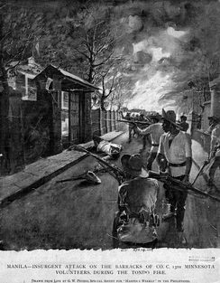 Attack on the barracks of Company C of the 13th Minnesota Volunteers by Filipino forces during the Tondo Fire in Manila, 1899
