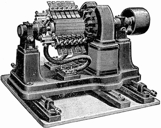 Low voltage dynamo for electroplating from the turn of the century.  The resistance of the commutator contacts causes inefficiency in low voltage, high current machines like this, requiring a huge elaborate commutator.  This machine generated 7 volts at 310 amps.