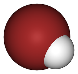 When hydrogen bromide (HBr), pictured, is dissolved in water, it forms the strong acid hydrobromic acid