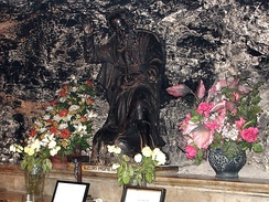 A statue of Elijah in the crypt of the monastery on Mount Carmel. According to Carmelite tradition, the crypt was originally the Cave of Elijah.