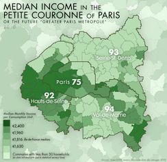 Median income in Paris and its nearest departments