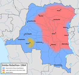 Map showing the territory controlled by the Simba (red) and Kwilu (yellow) rebels, 1964