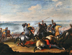 King Charles X Gustav in skirmish with Polish Tatars near Warsaw during the Second Northern War