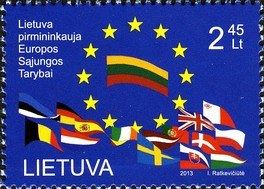 The stamp is dedicated to Lithuania's presidency of the European Union. Post of Lithuania, 2013.