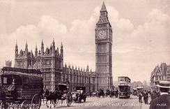 Westminster Bridge and Houses of Parliament, c. 1910