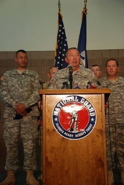 Maj. Gen. Bennett C. Landreneau (center), adjutant general of the Louisiana Army National Guard, speaks to reporters about the Guard's preparation for Gustav in Louisiana on August 28.