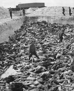 Dr. Fritz Klein stands amongst corpses in Mass Grave 3