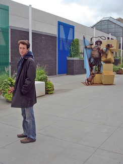 "Ryan McCourt, pictured with his sculpture ""Destroyer of Obstacles,"" in front of the Shaw Conference Centre in Edmonton, Alberta, Canada August 2007, a month before the work was ordered removed by Mayor Stephen Mandel."