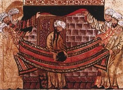 Miniature from Rashid-al-Din Hamadani's Jami al-Tawarikh, c. 1315, illustrating the story of Muhammad's role in re-setting the Black Stone in 605. (Ilkhanate period)[60]