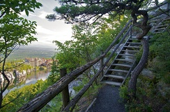 Parts of many hiking trails around Lake Mohonk, New York State, US, include stairways which can prevent erosion
