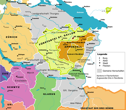 Eastern Switzerland in 1798, with shared territories in grey and associate members of the Confederacy outlined  .mw-parser-output .legend{page-break-inside:avoid;break-inside:avoid-column}.mw-parser-output .legend-color{display:inline-block;width:1.5em;height:1.5em;margin:1px 0;text-align:center;border:1px solid black;background-color:transparent;color:black;font-size:100%}.mw-parser-output .legend-text{font-size:95%}     Imperial Abbey of St. Gall      Free Imperial City of St. Gallen      Appenzell Ausserrhoden      Appenzell Innerrhoden      Shared territories of the Confederacy       Canton of Glarus and the County of Werdenberg      Canton of Zürich and Lordship of Sax      Three Leagues      Canton of Schwyz
