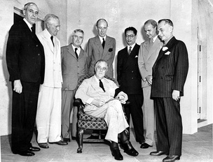 The Pacific War Council as photographed on 12 October 1942. Pictured are representatives from the United States (seated), the Philippine Commonwealth, China, the United Kingdom, Australia, Canada, the Netherlands, and New Zealand
