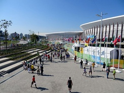 Ground-level view of the surrounding environment outside the Carioca Arenas.
