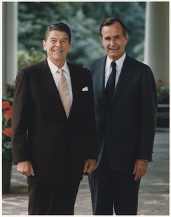 President Ronald Reagan with Bush