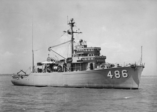 The minesweeper NRP Graciosa, in trials, just before being delivered to the Portuguese Navy in 1955