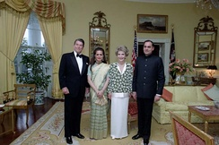 President Ronald Reagan, Sonia Gandhi, First Lady Nancy Reagan and Prime Minister Rajiv Gandhi, during a state dinner for Prime Minister Gandhi. June 1985.