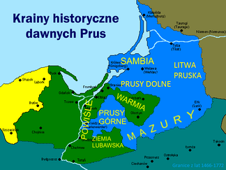 Map of historical lands and regions in Prussia