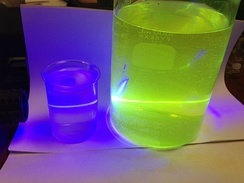 A 473 nm 200 mW blue laser beam is directed into the two beakers from the left. The detergent shows the path of the beam by blue scattered light. The light from the riboflavin solution is intense green fluorescence showing along the path of this laser beam.