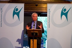 Dawkins accepting the Services to Humanism award at the British Humanist Association Annual Conference in 2012