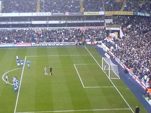 Keane stepping up to take a penalty against Birmingham City at White Hart Lane in December 2005